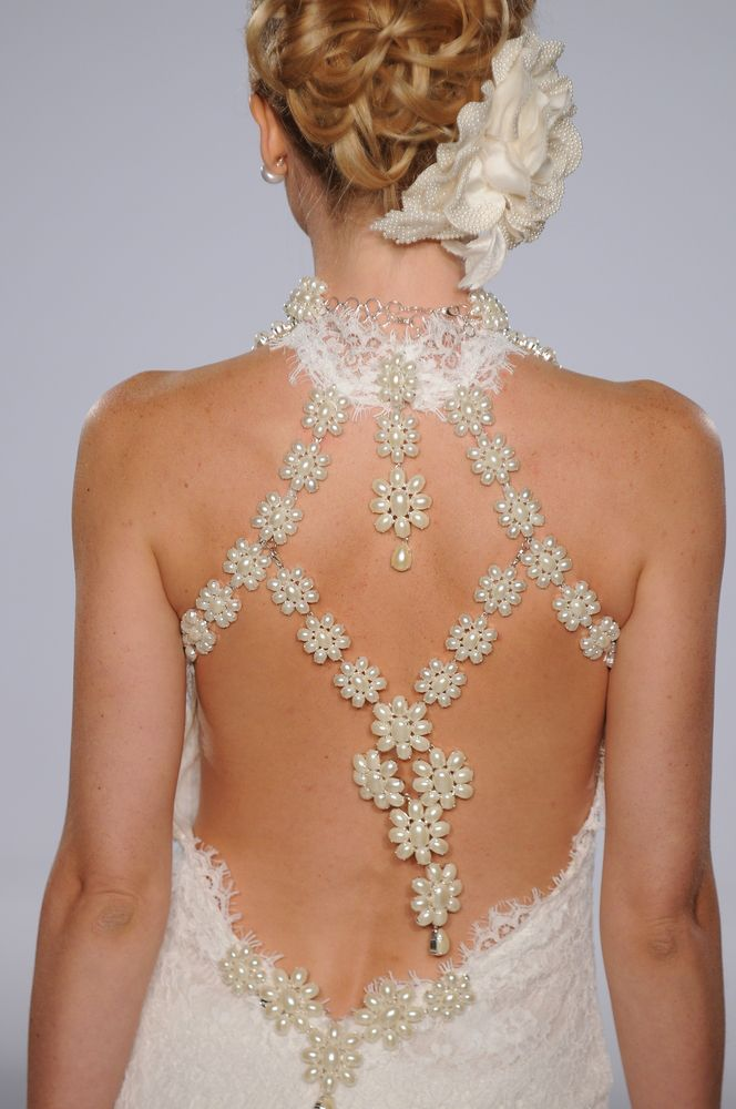 Back detail on a wedding dress.