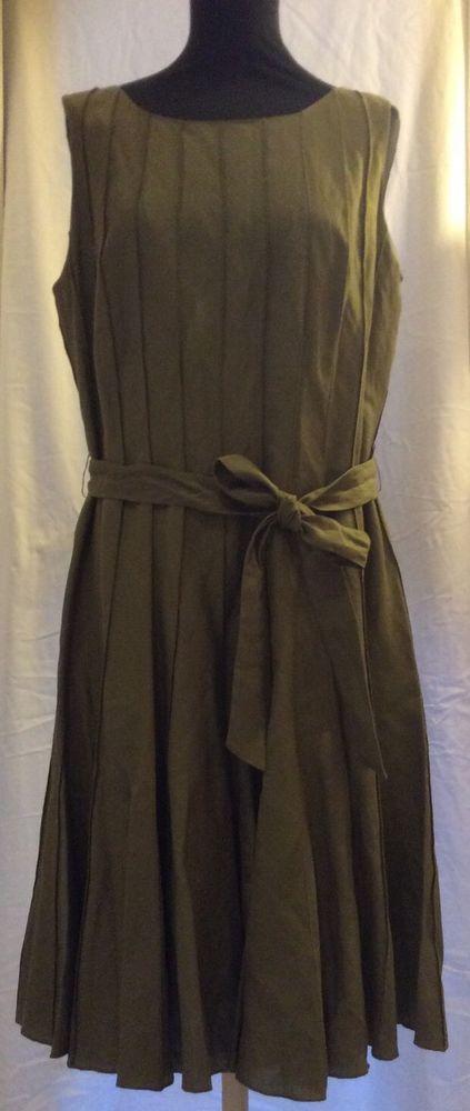 Izod Linen Tunic Dress UK 14 Olive Green BNWT Lagenlook