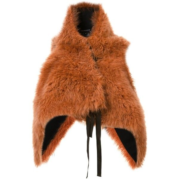 Ann Demeulemeester fur waistcoat (£2,420) ❤ liked on Polyvore featuring outerwear, vests, orange, ann demeulemeester, orange vest, waistcoat vest, fur vests and brown fur vest