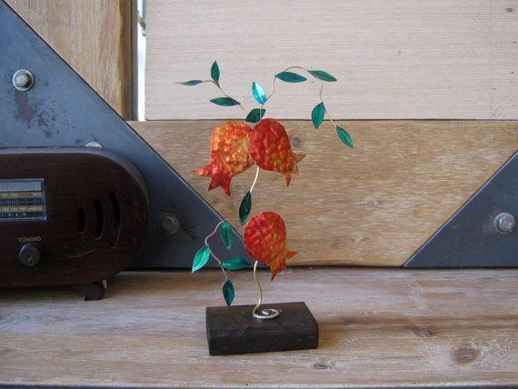 brass pomegranates/branch of pomegranates/ homme decor  / metal / metal…