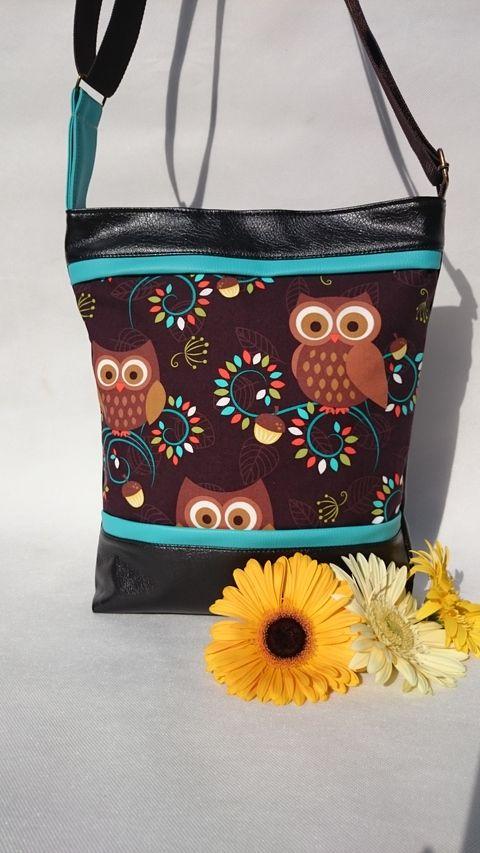 Bagoly mintás  textilbőr táska, Táska, Mindenmás, Ruha, divat, cipő, Válltáska, oldaltáska, Meska