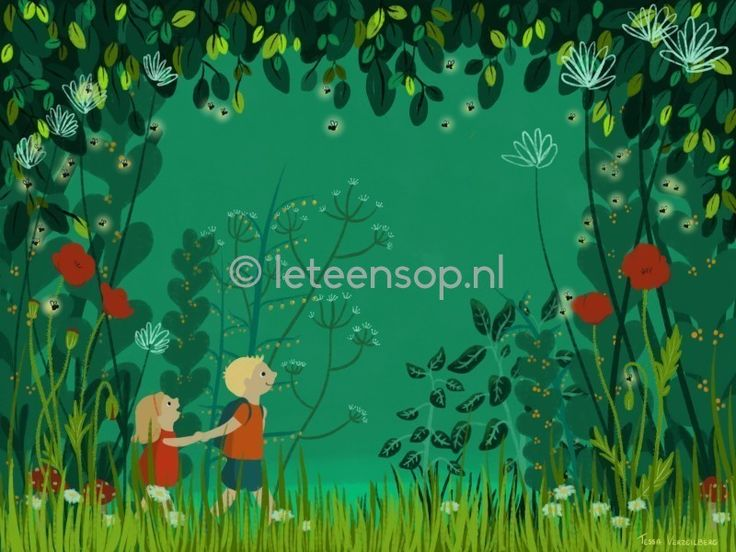 Big brother forest wood wandering adventure illustration green poster kinderkamer
