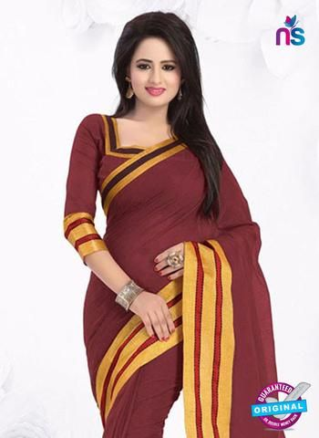 SC 13382 Maroon and Golden Fashionable Traditional Cotton Handloom Saree