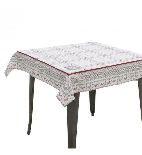 FABRIC TABLE COVER IN RED_WHITE DESIGN 120X120