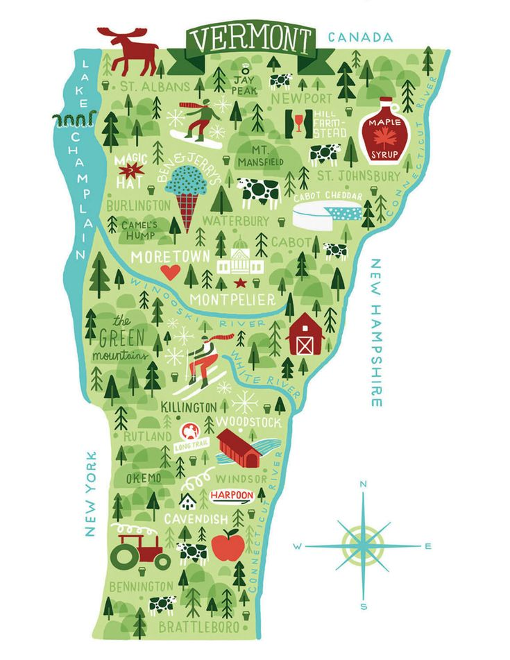 Best INSPIRATION MAPS Images On Pinterest Illustrated Maps - Vermont in usa map