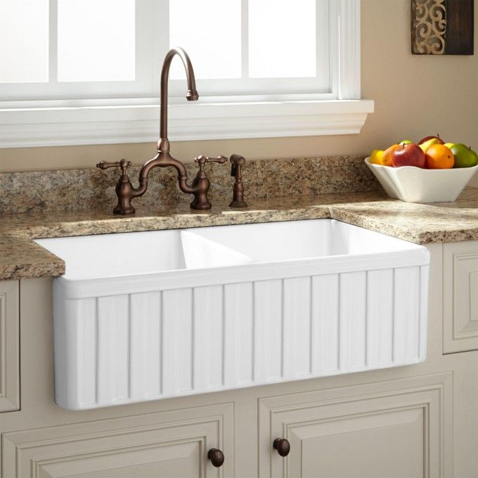 "33"" Oldham Double Bowl Fireclay Farmhouse Sink with Fluted Front"