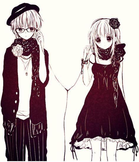 cute anime couple listening music on one ear phone tumblr