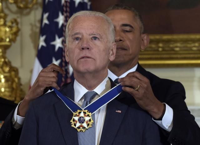 "WASHINGTON (AP) — President Barack Obama awarded Vice President Joe Biden with the highest civilian honor Thursday, commemorating an ""extraordinary man with an extraordinary career in public service.""  A teary-eyed Biden accepted the Presidential Medal of Freedom at a ceremony at the White House dedicated to honoring the outgoing vice president."