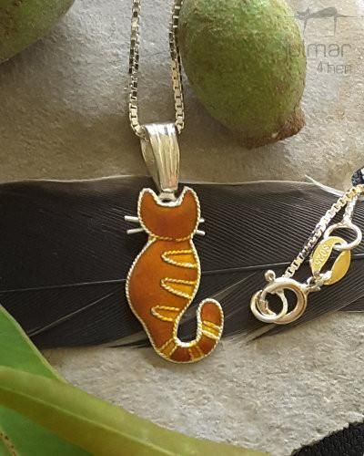This cat shaped silver plated pendant is designed by Julie Mammano. Talented artists have painted this pendant with colourful enamels. True to form and stunning in style, appearance and wear-ability make this a distinctive cat themed pendant ready to be shown off.