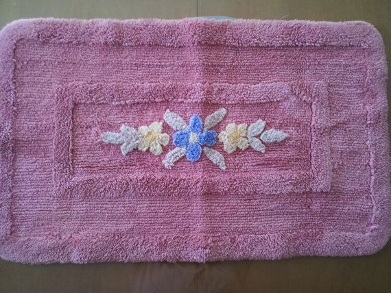 Vintage Chenille Bathroom Rug Cotton Peachy Pink 1950s