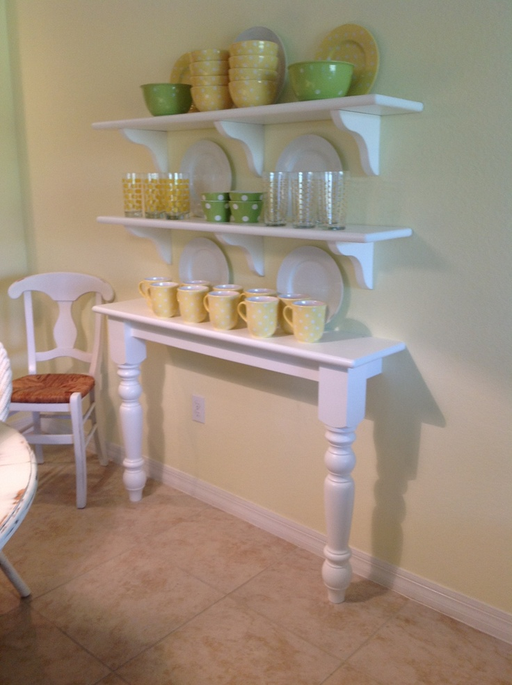 Great idea for a country kitchen.  Saves space & you can build the shelves to your own needs! ♥