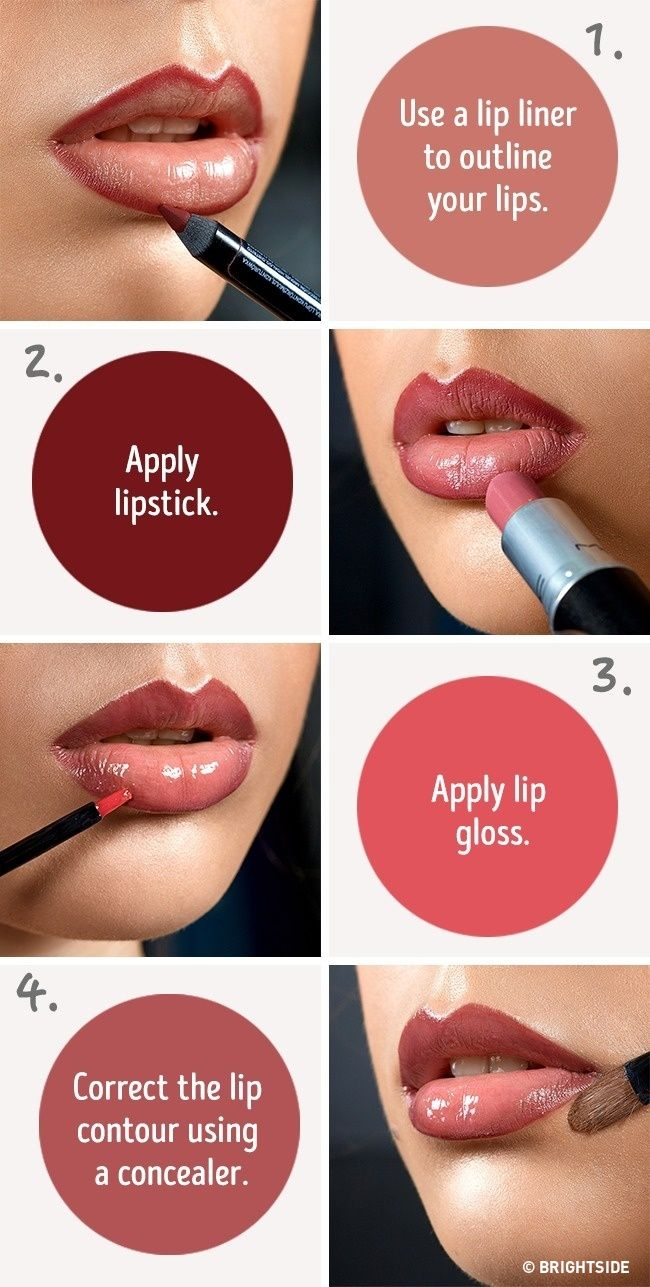 Six simple tricks that will make your lips look fuller ----- The combination of lipstick, lip gloss, and concealer gives a perfect result. with a clean outline.