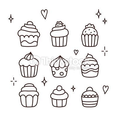 Clipart vectoriel : Hand drawn cupcakes