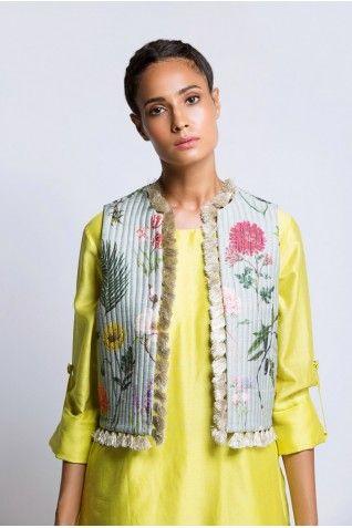 Payal Singhal Indian Wear Collection : LIME KURTA AND PRINTED JACKET SET
