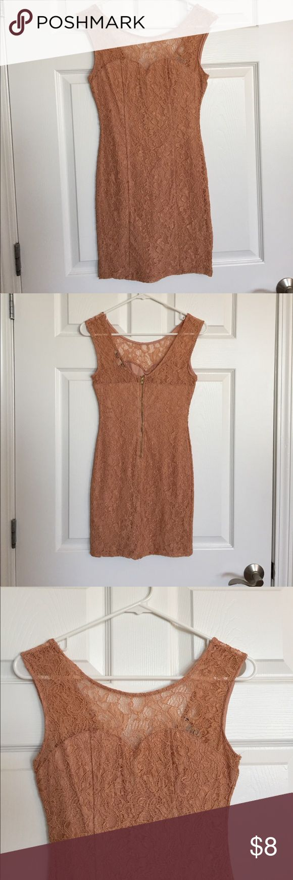 Nude lace dress Tight lace dress in a pretty neutral color. Is see through up top with a sweetheart neckline. Perfect for a night out. Gently used! Forever 21 Dresses Mini
