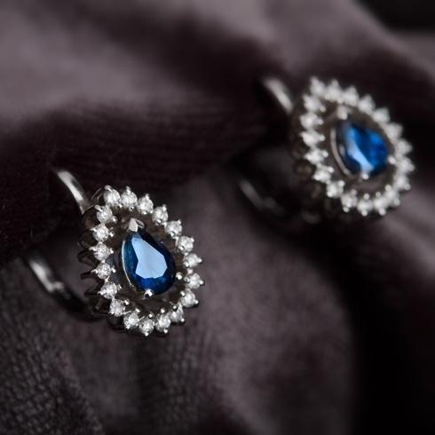 Cercei cu safire si diamante C056