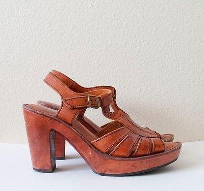 Vintage 1970s Wood Leather Platform Sandals 70s T Strap Boho Heels Size 8 | eBay