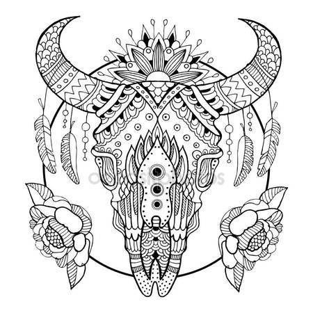 Cráneo de vaca para colorear ilustración vectorial del libro — Vector de stock