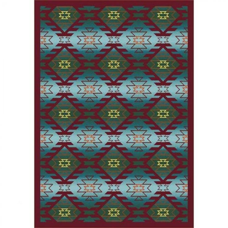 Joy Carpets Whimsy Canyon Ridge Desert Turquoise Southwestern Kids Rug - 1577-01