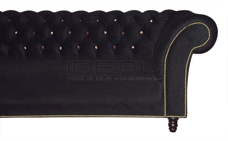 Przepiękna głęboko pikowana sofaw stylu angielskim w której zwracamy szczególna uwage na guziki w kontrastowym kolorze. Wytworna sofa odnajdujaca się nie tylko w stylowych wnetrzach  Sofy Stylowe - Sofa Chesterfield Kent - Ideal Meble