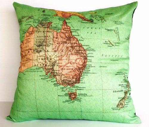 Vintage map cushion cover/ map pillow AUSTRALIA NEW ZEALAND / map cushion/ cushion/ organic cotton cushion cover.