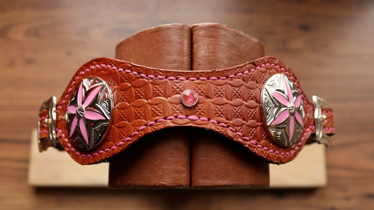 Leather Wither Strap with Pink & Silver Decoration by KellysLeatherDesign on Etsy