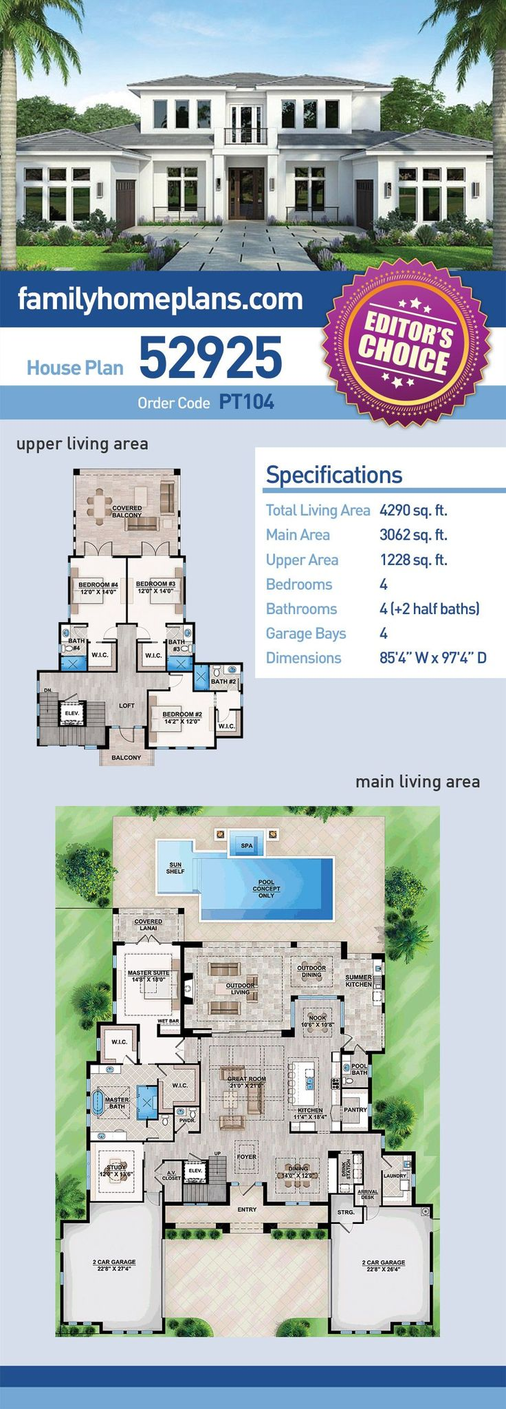 Contemporary House Plan 52925   Total Living Area: 4,290 SQ FT, 4 bedrooms, 4 full bathrooms and 2 half baths. #contemporaryhome