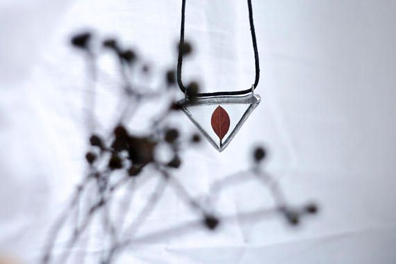 Triangle herbarium glass pendant with autumn leaf. Stained
