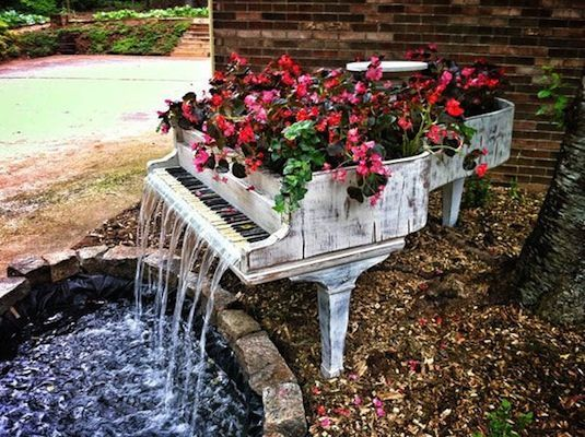 20 Unusual Furniture Hacks | Piano turned into a fountain. Reminds me of the musical grey gardens for some reason.