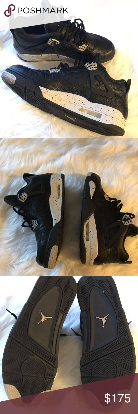 "Air Jordon Retro 4 ""Oreo"" Black Tech Grey Pre-owned. Pristine condition MENS Size 11.  Worn once. Minimal wear on soles, please review photos.  Feel and look BRAND NEW.  Will come with original box  Shipped double boxed.  Buy with confidence and don't hesitate to ask me any questions you may have. Air Jordan Shoes Sneakers"