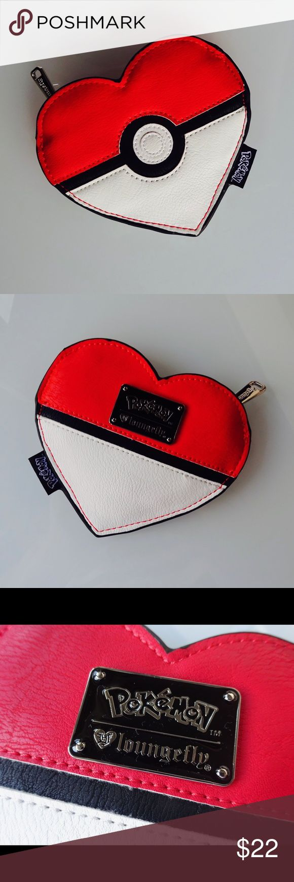 """Pokémon Heart Coin Bag HEART-SHAPED FAUX LEATHER COIN BAG WITH APPLIQUE DETAILS. MEASUREMENTS: W: 5.8"""" X H: 5"""" Pokemon Bags Cosmetic Bags & Cases"""