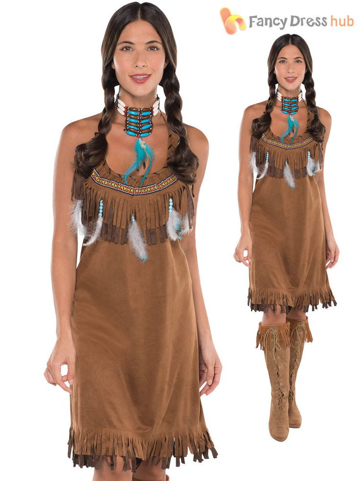 Ladies Red Indian Costume Adults Pocahontas Native American Fancy Dress Western in Clothes, Shoes & Accessories, Fancy Dress & Period Costume, Fancy Dress | eBay