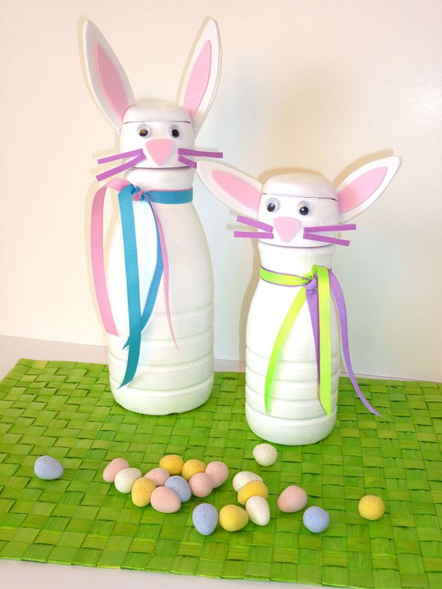 Bunny containers from coffee creamer empties. Perfect to fill with candy or spiced almonds