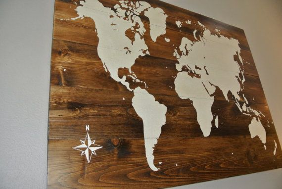 Rustic Wood World Map, hand made, hand painted, reclaimed wood, travel, home decor, wall art by CraigMoodieDesigns