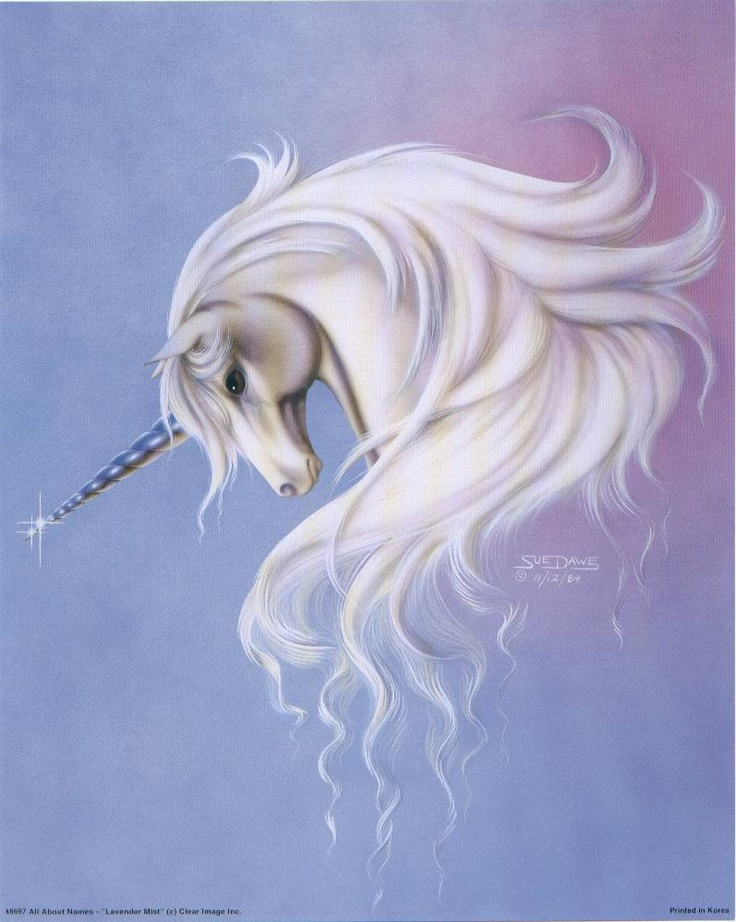 """Framed Sue Dawe Unicorn Picture """"Elegant Unicorn"""" 8 x 10"""