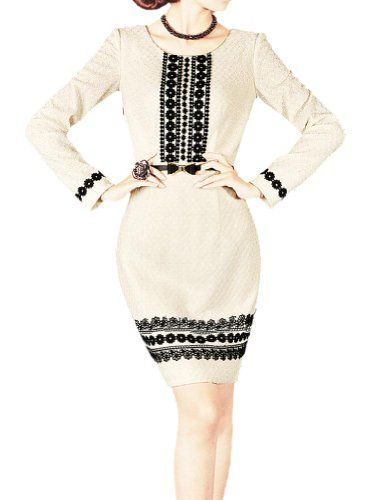awesome Purpura Erizo Womens Lace Trim Elegant Beige Dress Round Neck @ http://womenapparelclothing.com/dresses/wear-to-work-dresses/purpura-erizo-womens-lace-trim-elegant-beige-dress-round-neck/