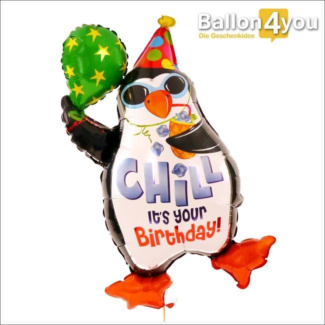 Party Pinguin - Geburtstag     Entspann Dich...es ist dein Geburtstag!!! Wer seinen Geburtstag völlig cool erleben möchten, findet in diesem Ballon einen kongenialen Partner. Dabei schlürft der schwebende Pinguin völlig entspannt einen coolen Cocktail und freut sich gemeinsam mit dem Geburtstagskind auf das neue Lebensjahr.