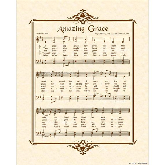 AMAZING GRACE 8x10 Antique Hymn Art Print by VintageVerses