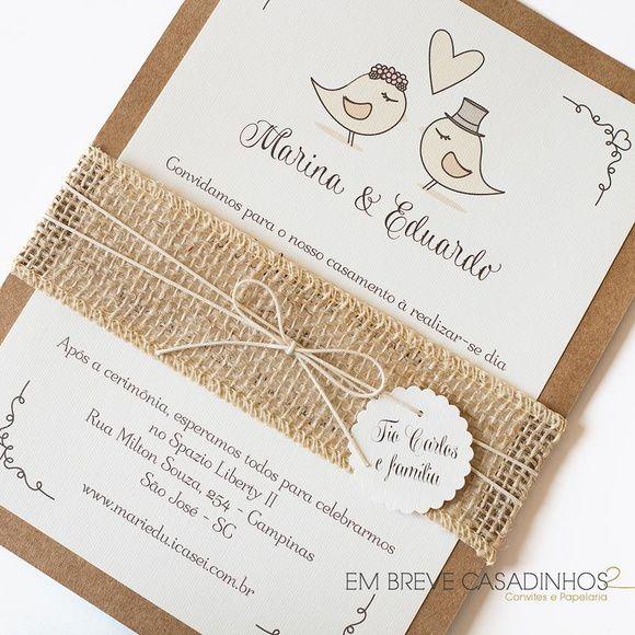 Convite de Casamento - Love Birds, Convite de Casamento Rústico, convites, convite de casamento, casamento rústico, convite de casamento offwhite, wedding invitation, rustic wedding, passarinhos, convite passarinhos