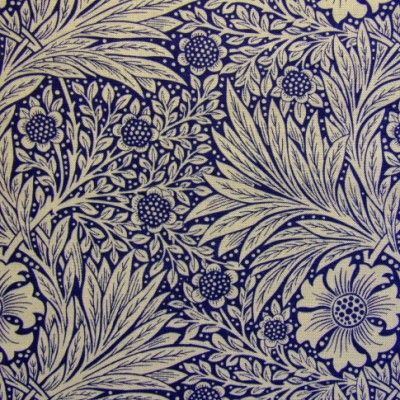 Marigold (Indigo) fabric design for soft furnishings, curtains and upholstery by William Morris. Linen | Archive Prints
