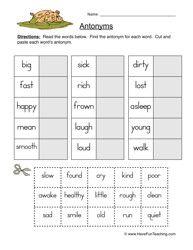 Opposite Worksheet, Antonym Worksheet, Antonyms, Opposites, Vocabulary Worksheet