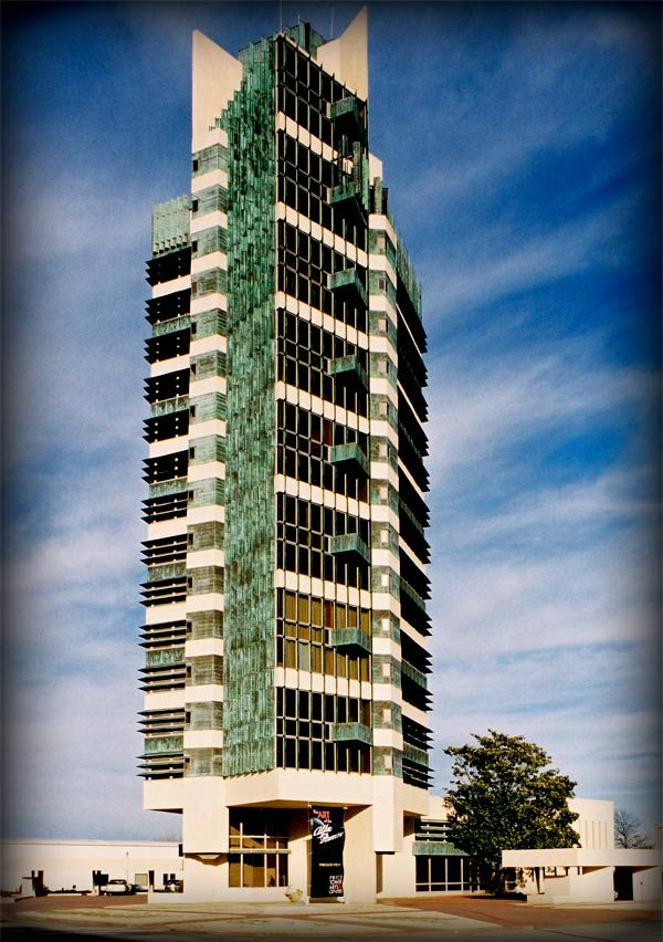 """Price Tower in Bartlesville, Oklahoma, 1956. At 19-stories high, it's Frank Lloyd Wright's only """"skyscraper""""."""