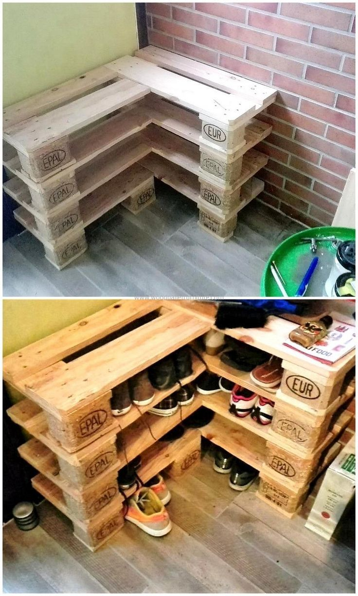 Look at this wood pallet shoe rack - affordable and effective!