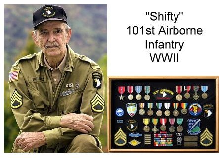 Shifty volunteered for the airborne in WWII and served with Easy Company of the 506th Parachute Infantry Regiment, part of the  101st Airborne Infantry. If you've seen Band of Brothers on HBO or the History Channel, you know Shifty. His character appears in all 10 episodes, and Shifty himself is interviewed in several of them. Shifty died on June l7, 2009 after fighting cancer. Rest in Peace Shifty.