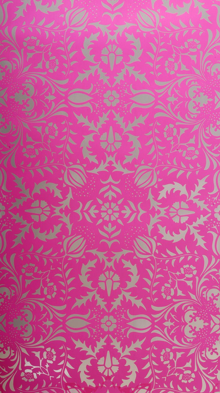 Dress up walls with textured paintable wallpaper called anaglypta - Hot Pink And Silver Damask Wallpaper At The Little Crown Interiors Boutique Love This For Santina Bathroom