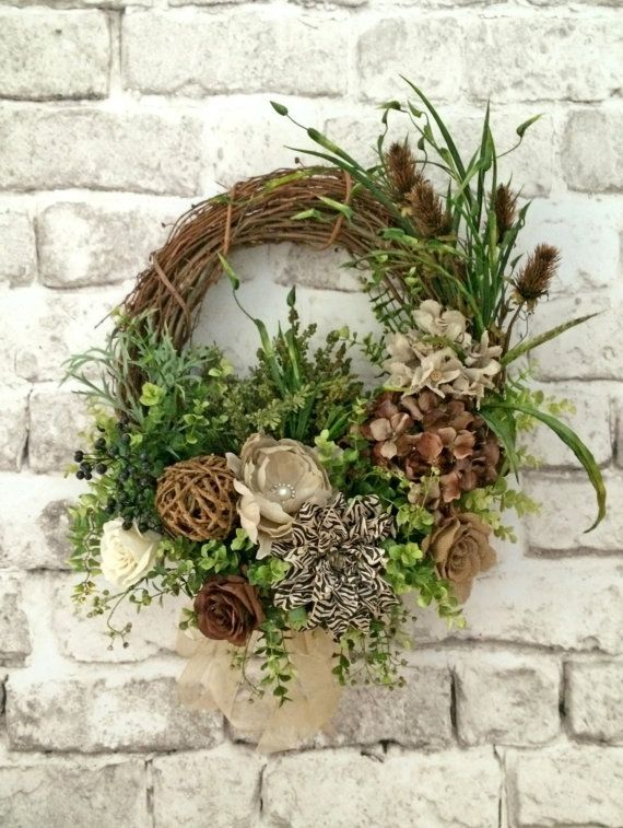 Silk and Burlap Wreath Fall Wreath for Door by AdorabellaWreaths, $163.00