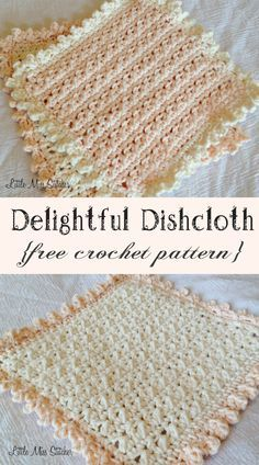 Delightful Dishcloth Crochet Free Pattern. I just love this texture and edging!!