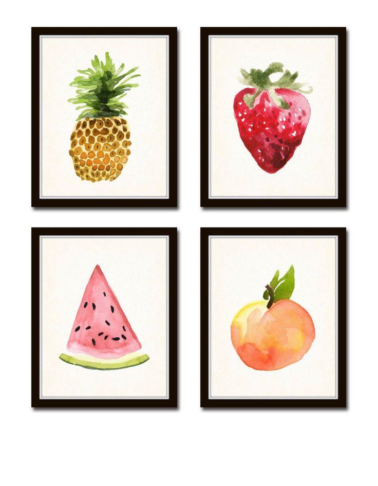 Watercolor Fruit Print Set No.1