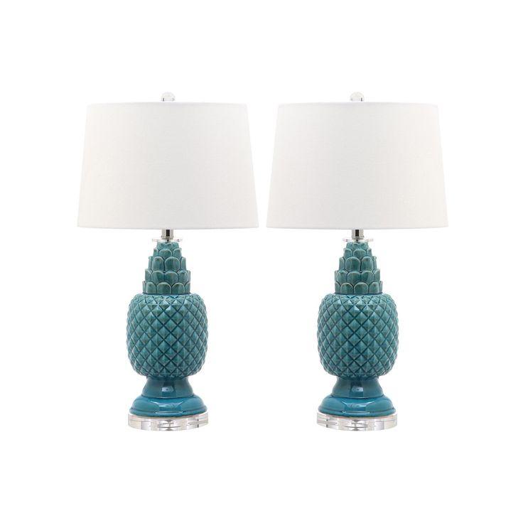 Safavieh Blakely Teal Table Lamp 2-piece Set, Blue