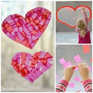 HEART SUN CATCHER CRAFT: these looked beautiful hanging in our windows! #craftsforkids #valentinesdaycrafts #suncatchers